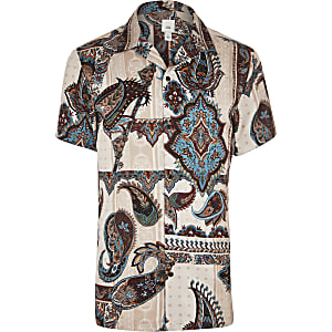 fb98f0381bb Ecru paisley short sleeve shirt