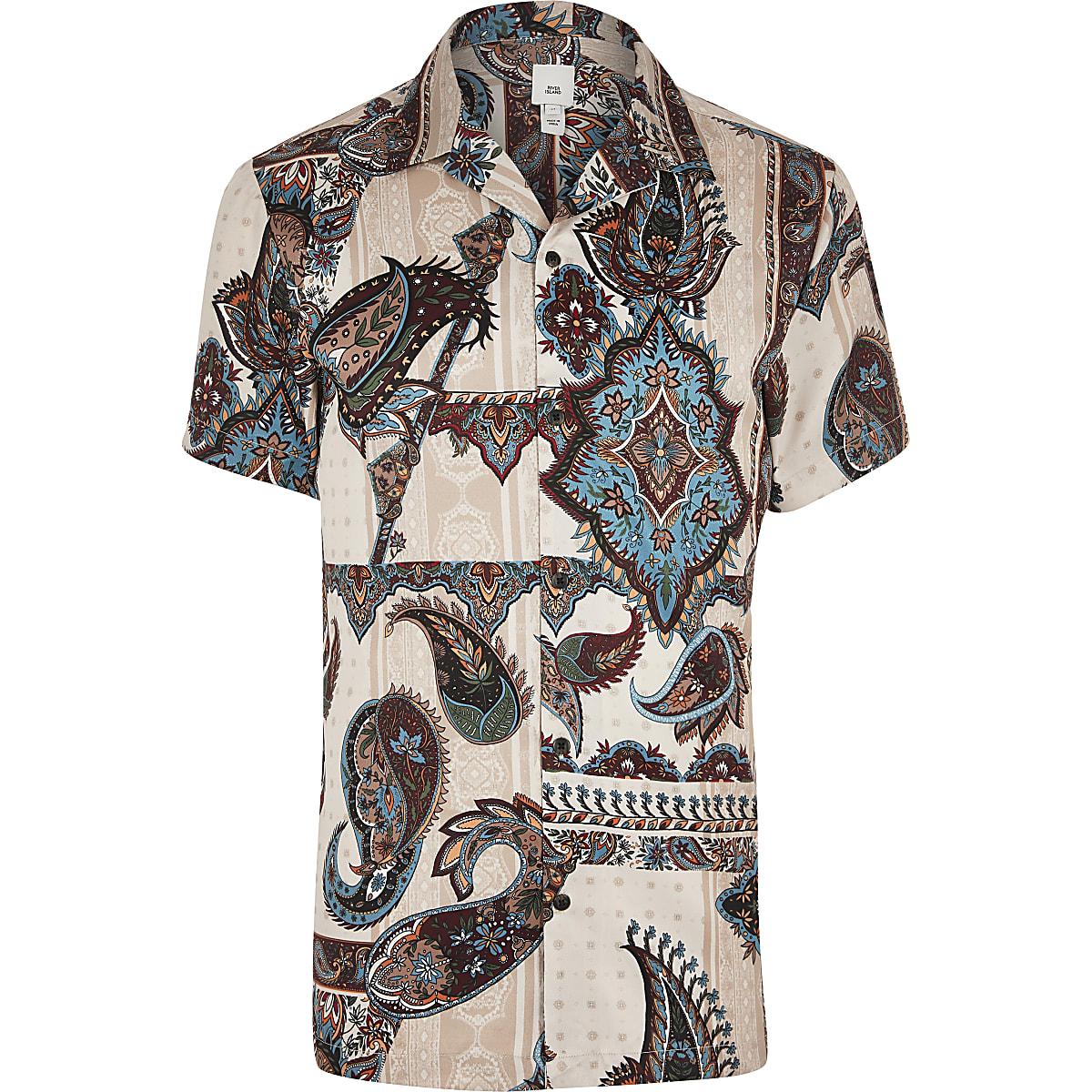 Ecru paisley short sleeve shirt