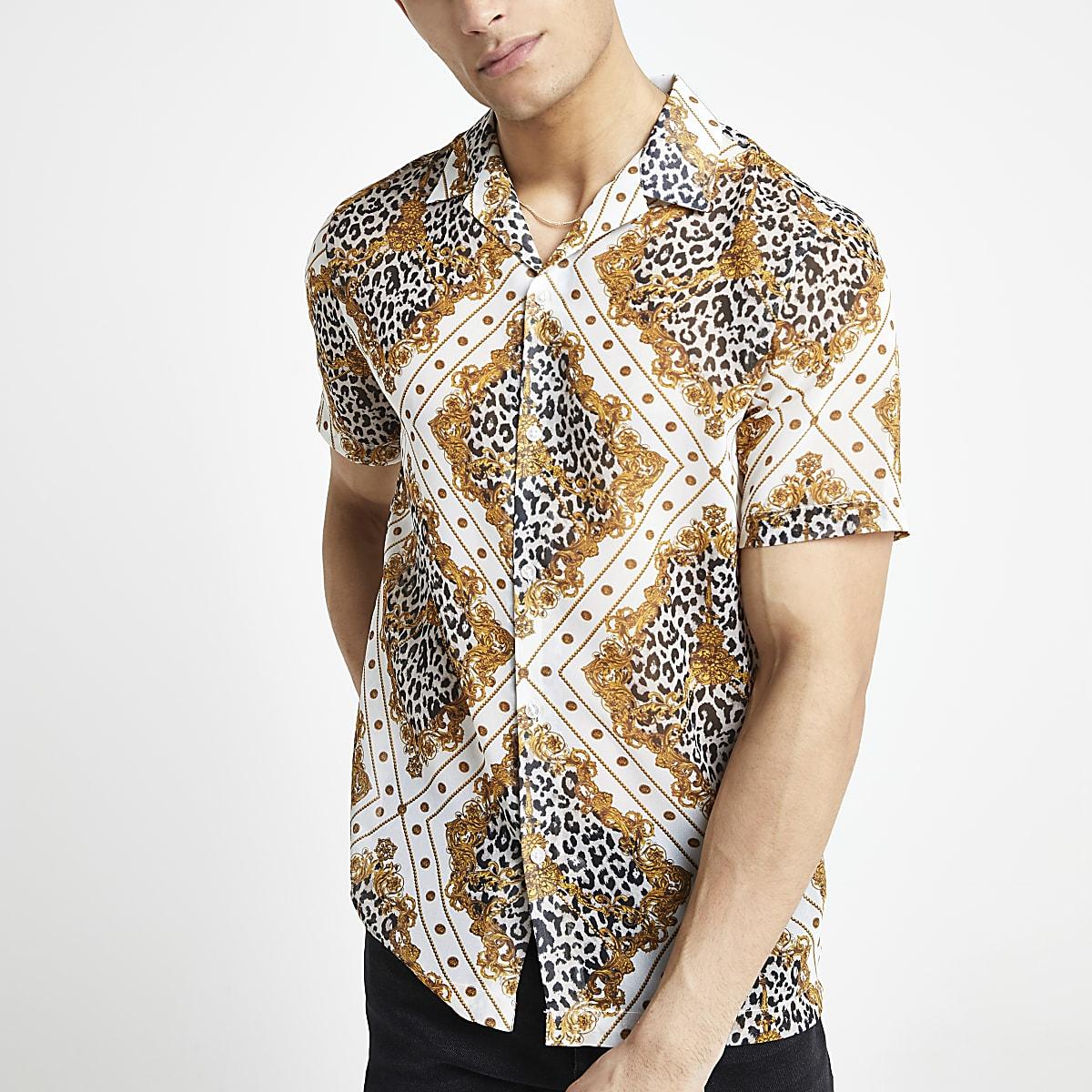 Ecru overhemd met luipaardprint en korte mouwen