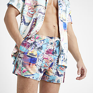 Blue graphic print swim shorts