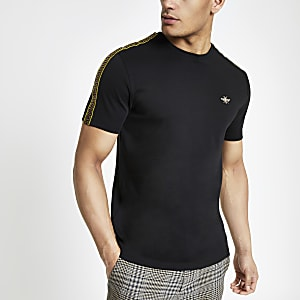 Black slim fit printed tape sleeve T-shirt