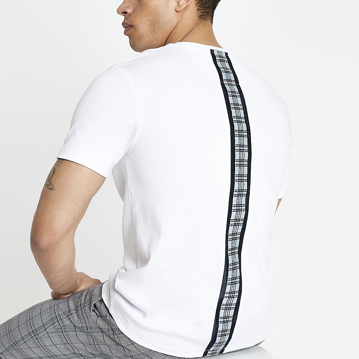 White check tape slim fit T-shirt