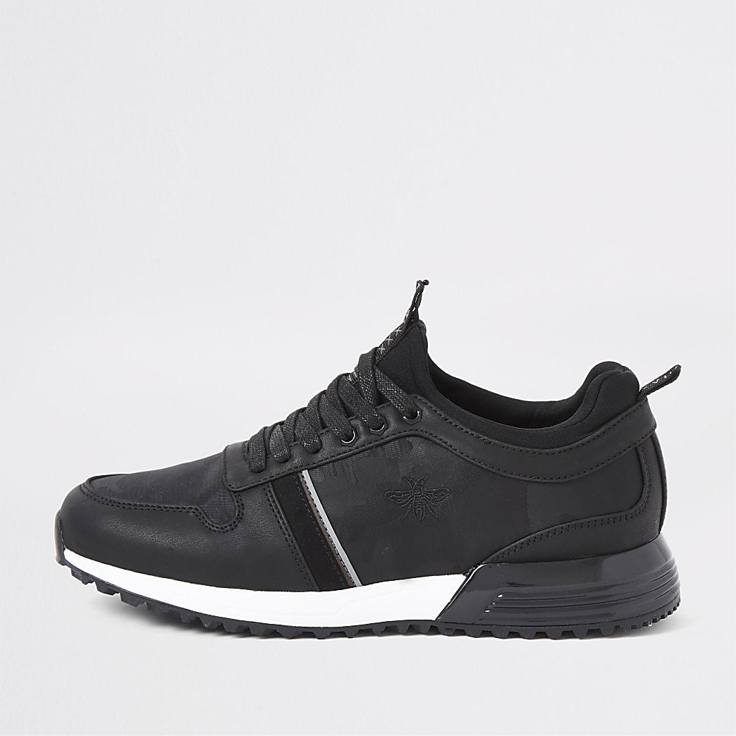 Zwarte sneakers met camouflageprint