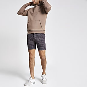 Short chino skinny à carreaux marron traditionnel