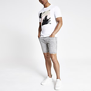 Graue Slim Fit Jeansshorts
