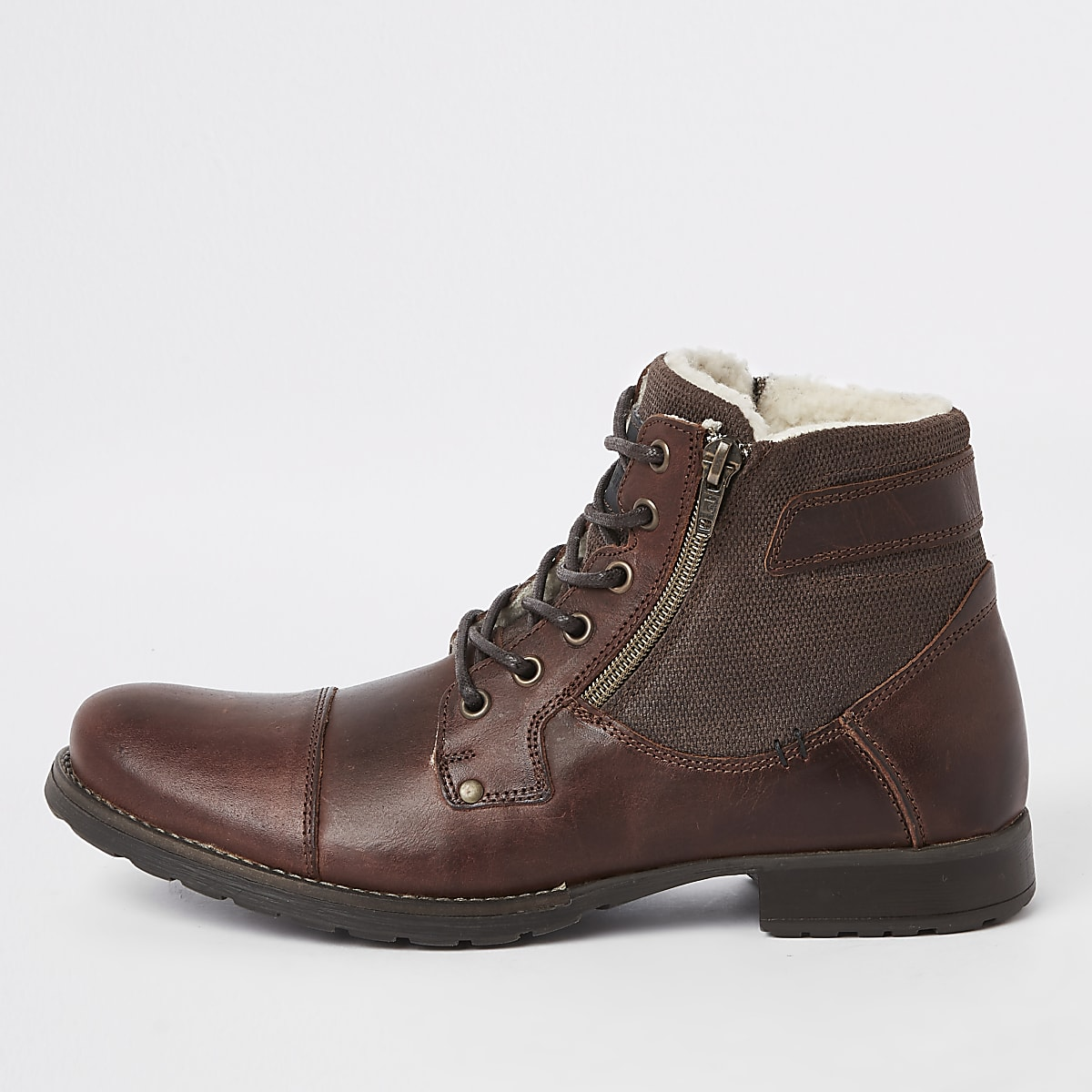 Brown leather zip side lace-up boots