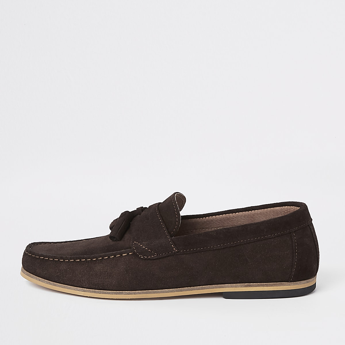 Brown suede tassel front loafers