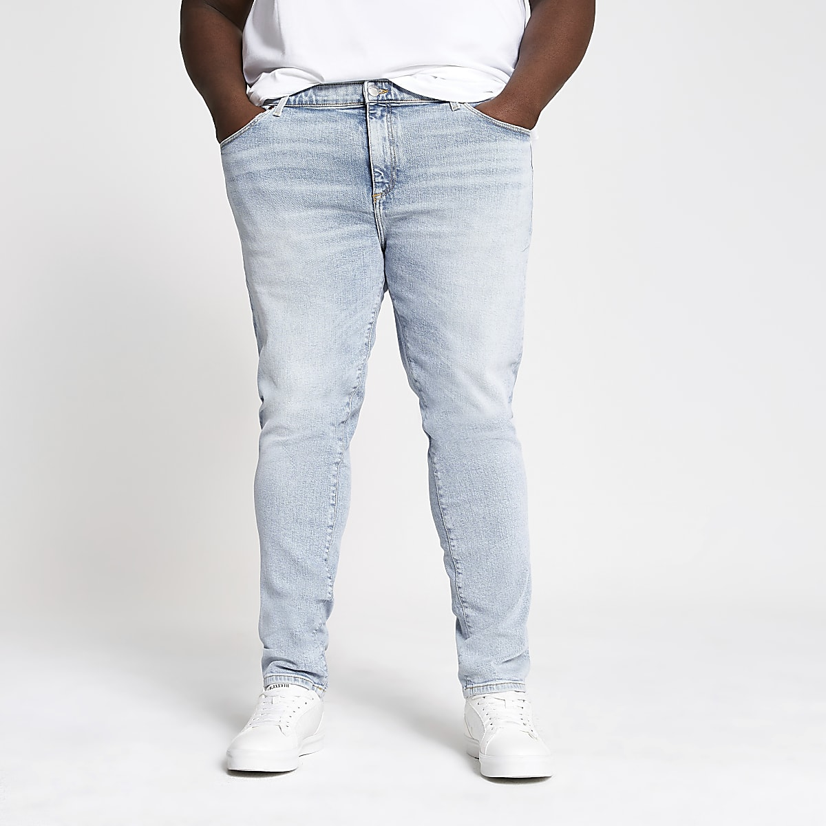 Big and Tall - Sid - Lichtblauwe skinny jeans