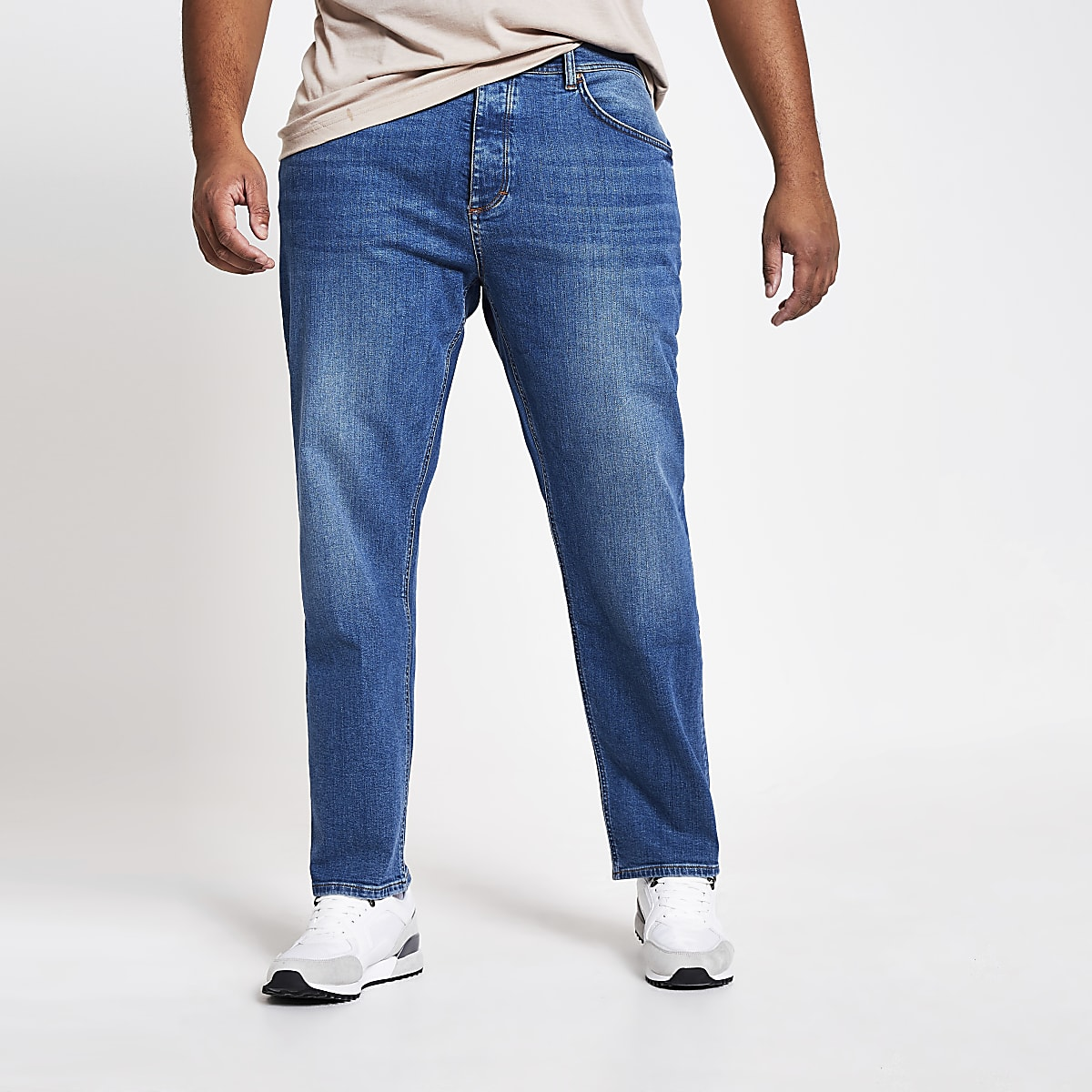 Big & Tall – Mittelblaue Straight Leg Jeans