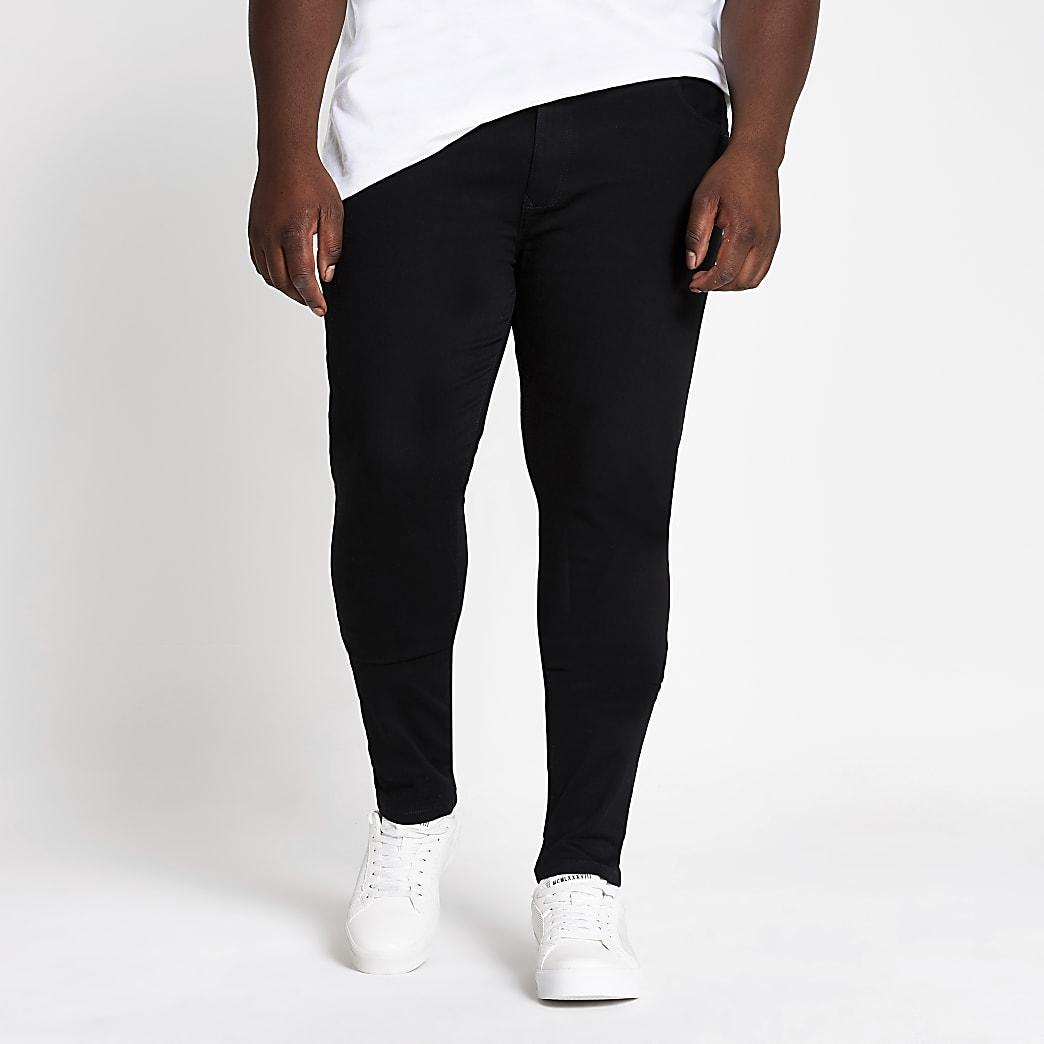 Big and Tall - Ollie - Zwart spray-on jeans