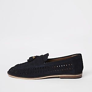 Navy suede woven tassel loafers