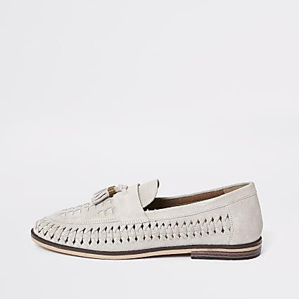 Light grey suede woven tassel loafers