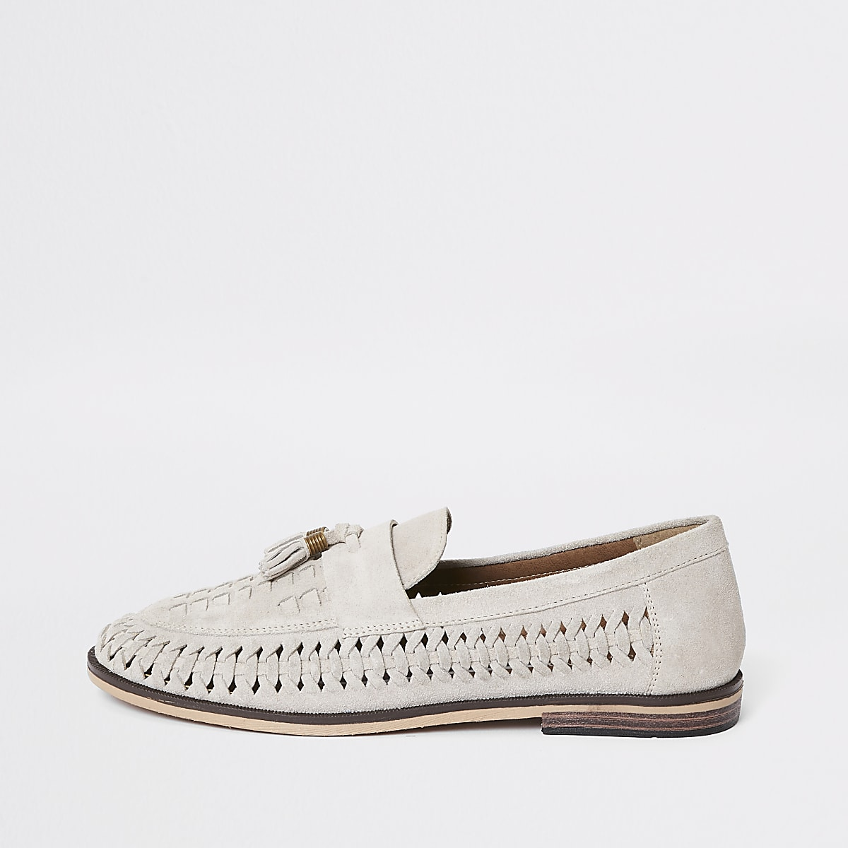 Light grey suede woven tassel loafers