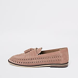 Pink suede woven tassel loafers