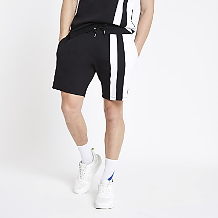 Black slim fit colour block shorts
