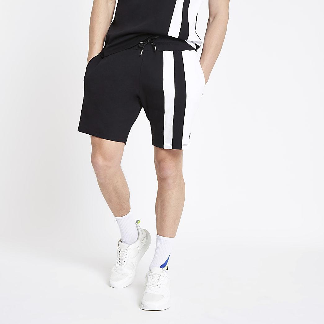 Short slim colour block noir
