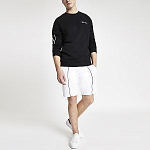 Short en jersey slim blanc passepoilé