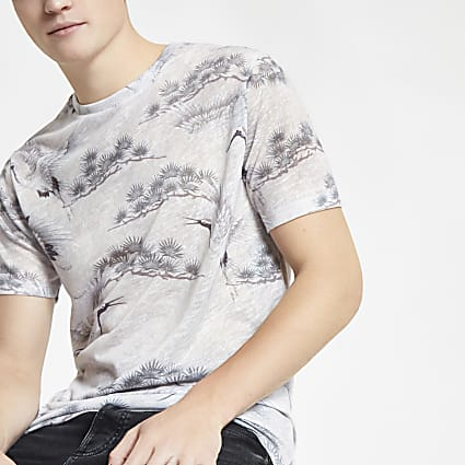 Grey crane print slim fit T-shirt