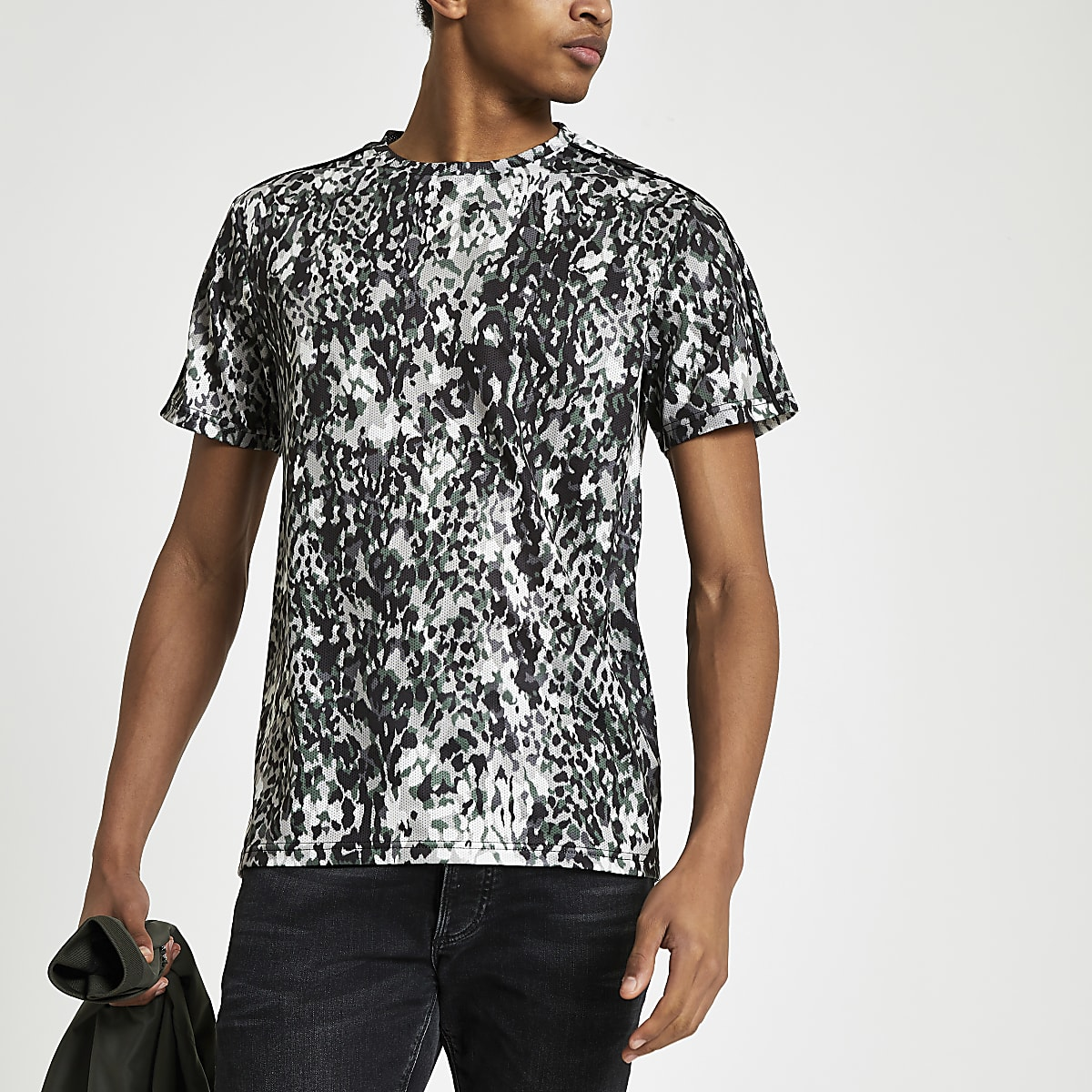 Black leopard print slim fit mesh T-shirt