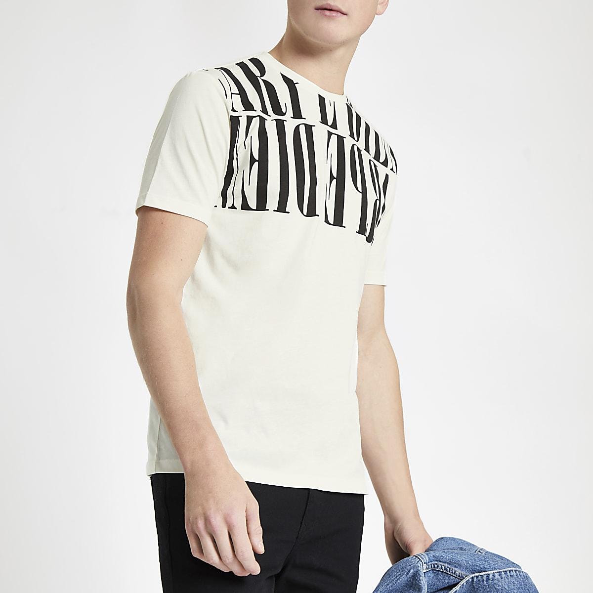 White carpe diem slim fit T-shirt