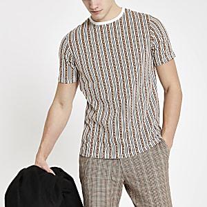 T-shirt slim rayé marron avec monogramme RI