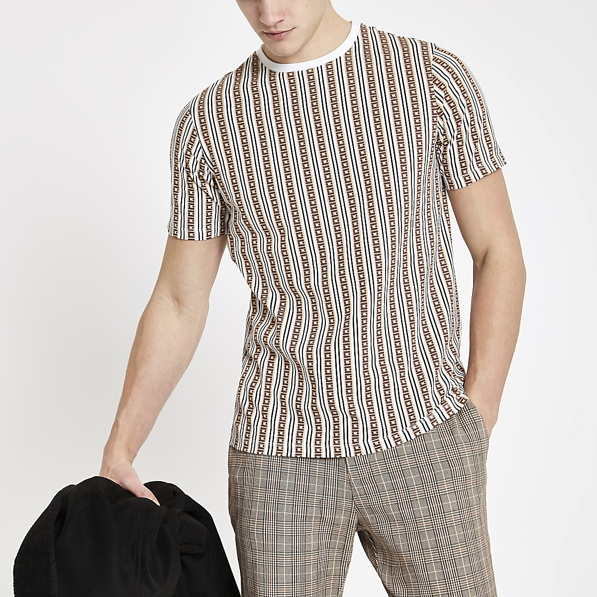 Brown RI monogram stripe slim fit T-shirt