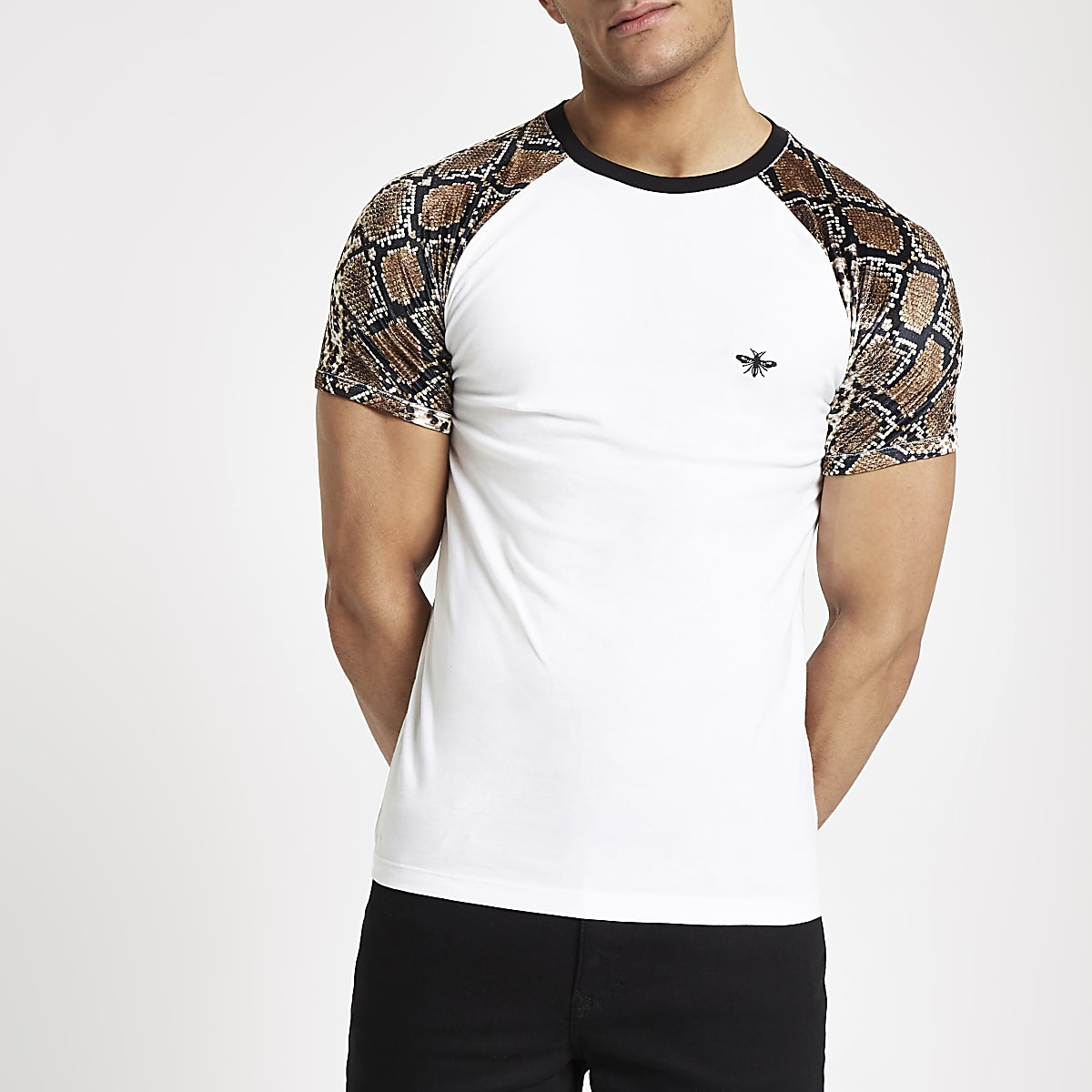 White slim fit snake print raglan T-shirt