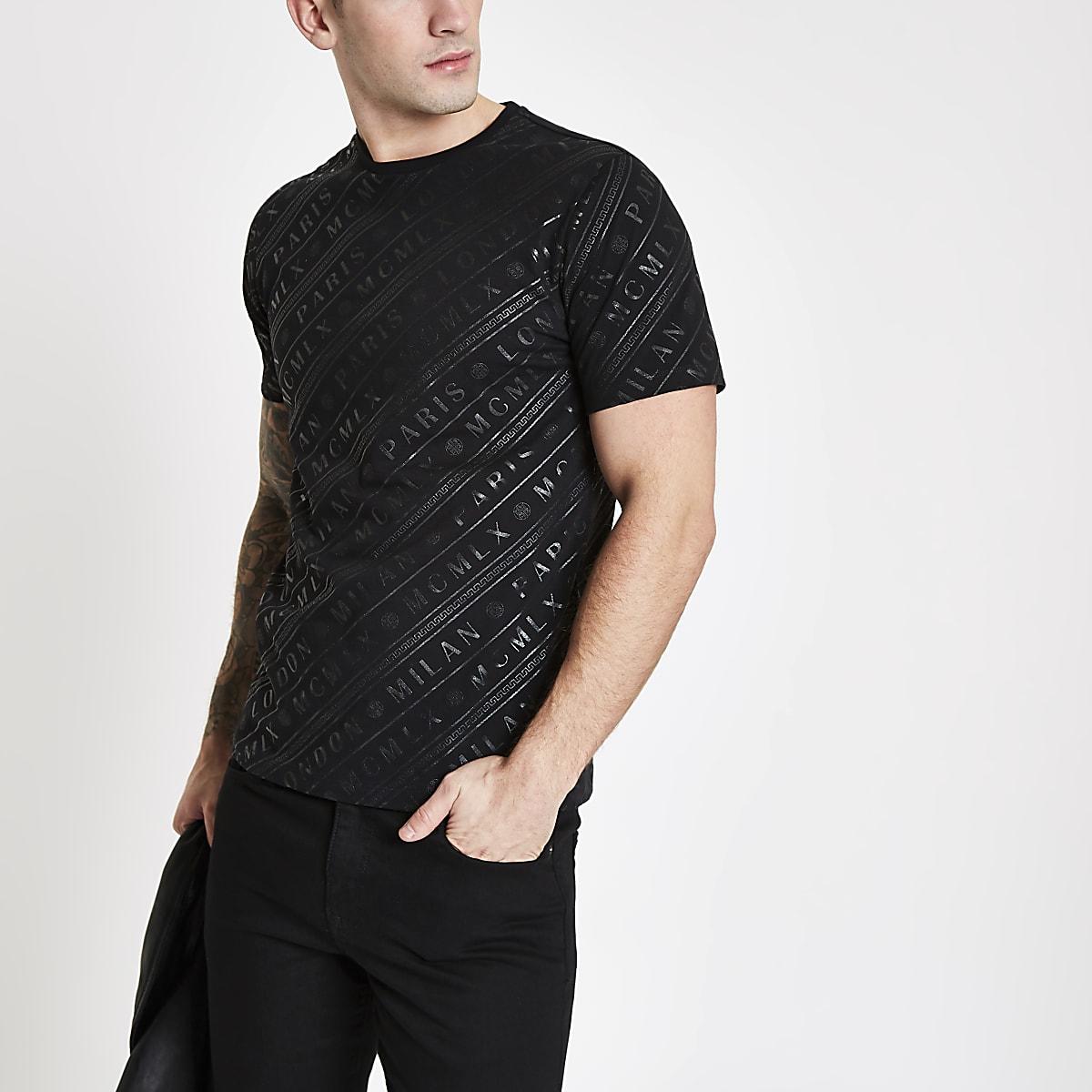 Black 'MCMLX' slim fit short sleeve T-shirt
