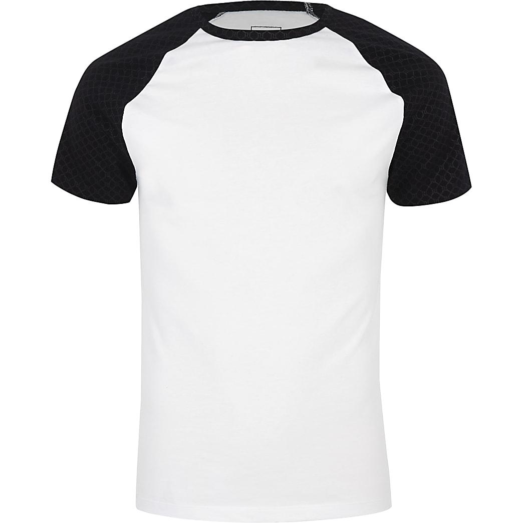 Wit aansluitend T-shirt met RI-monogram