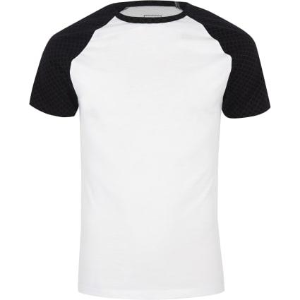 White RI monogram muscle fit T-shirt
