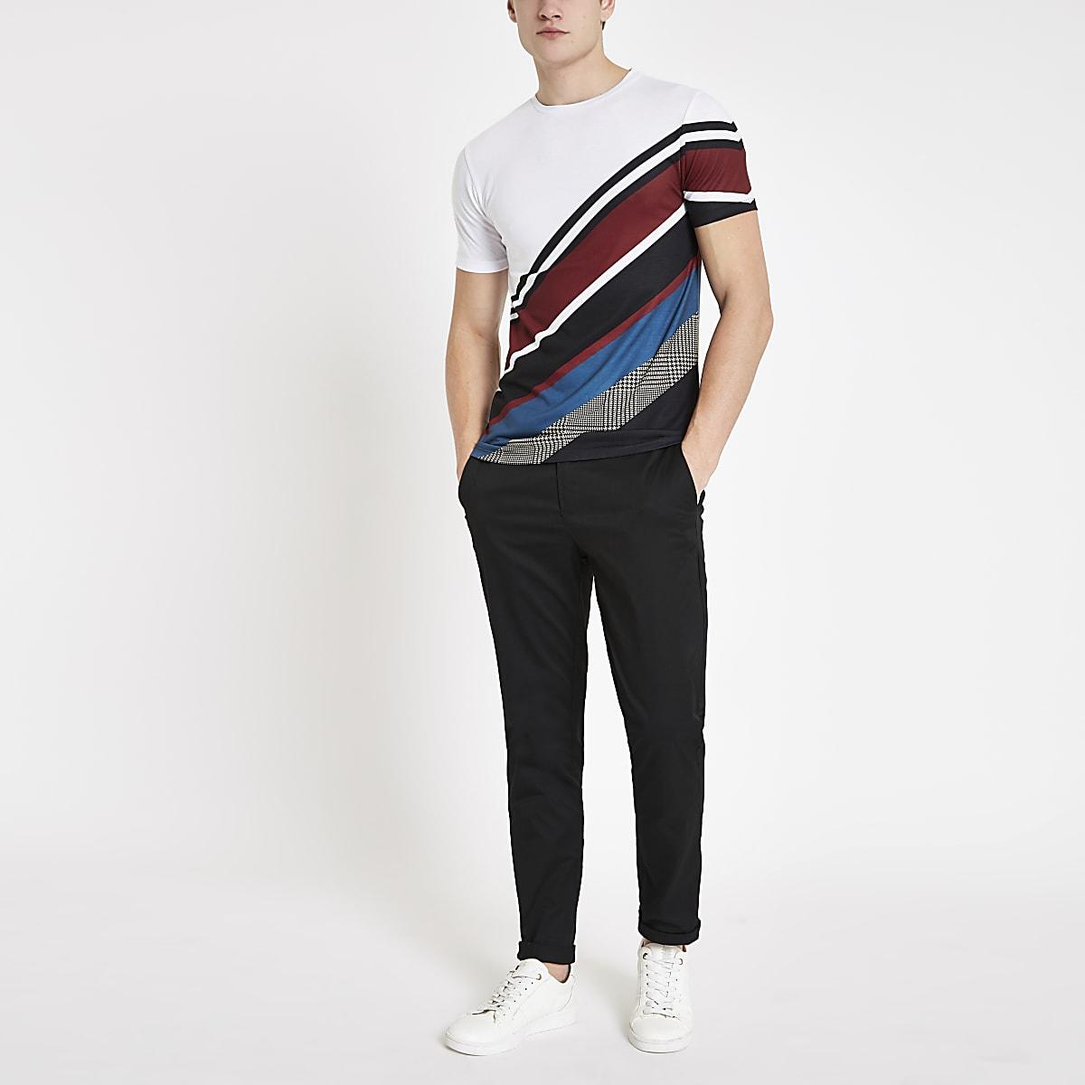 White diagonal stripe slim fit T-shirt