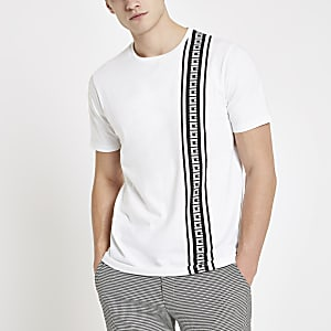 T-shirt slim à bande RI blanc