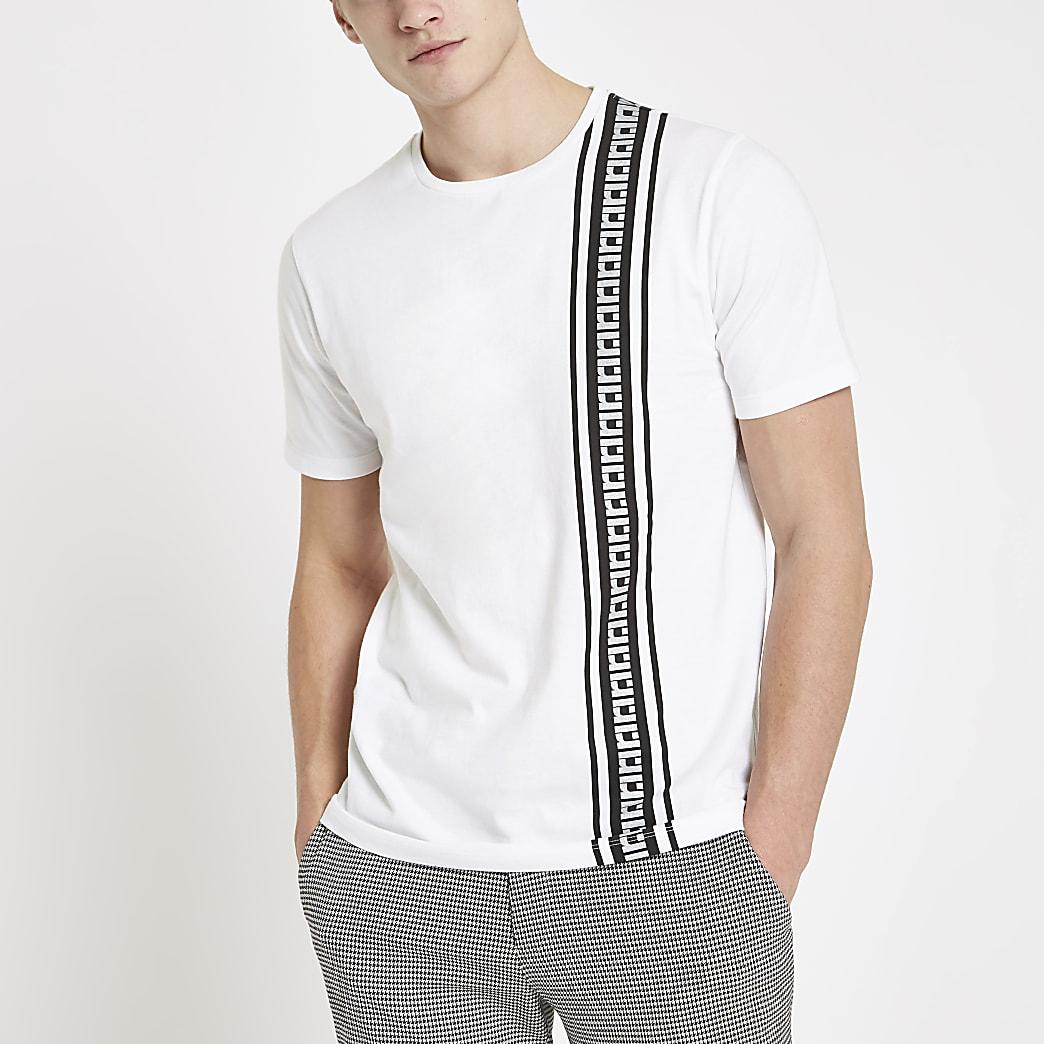 White RI tape slim fit T-shirt