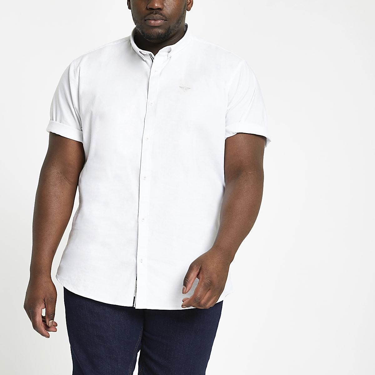 Big and Tall - Wit Oxford overhemd met standaard pasvorm