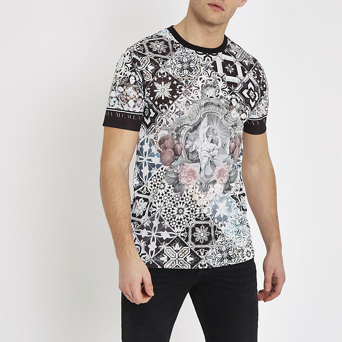 White baroque print slim fit T-shirt