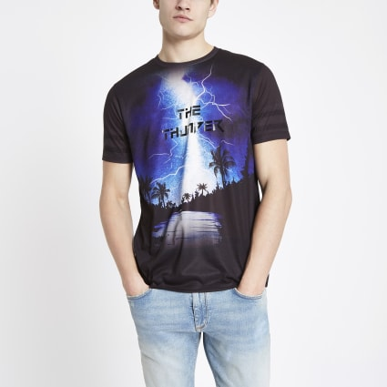 Black thunder rhinestone slim fit T-shirt