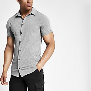Grijs gemêleerd aansluitend overhemd