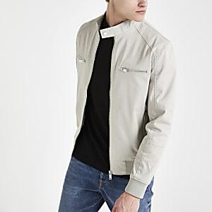 Grey zip front racer jacket