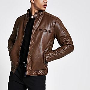 Veste marron à col montant