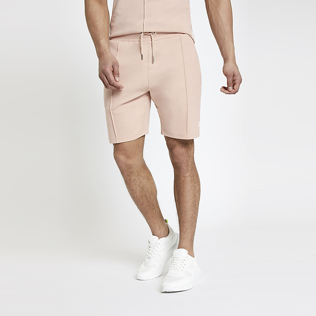 Roze slim-fit jersey short