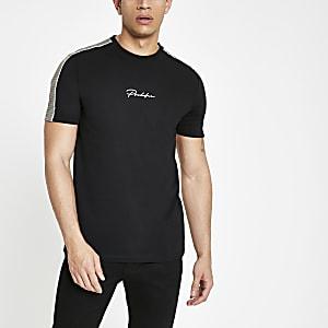 Zwart slim-fit T-shirt met 'Prolific'-print en geruite achterkant