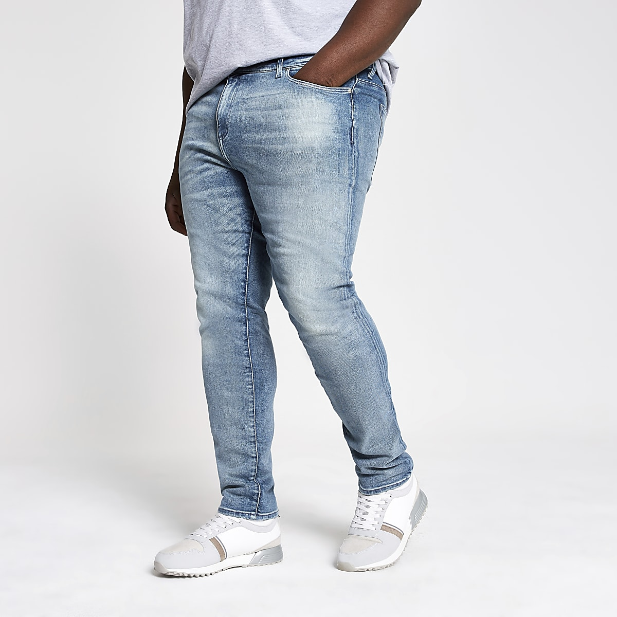 Big & Tall – Mittelblaue Skinny Jeans