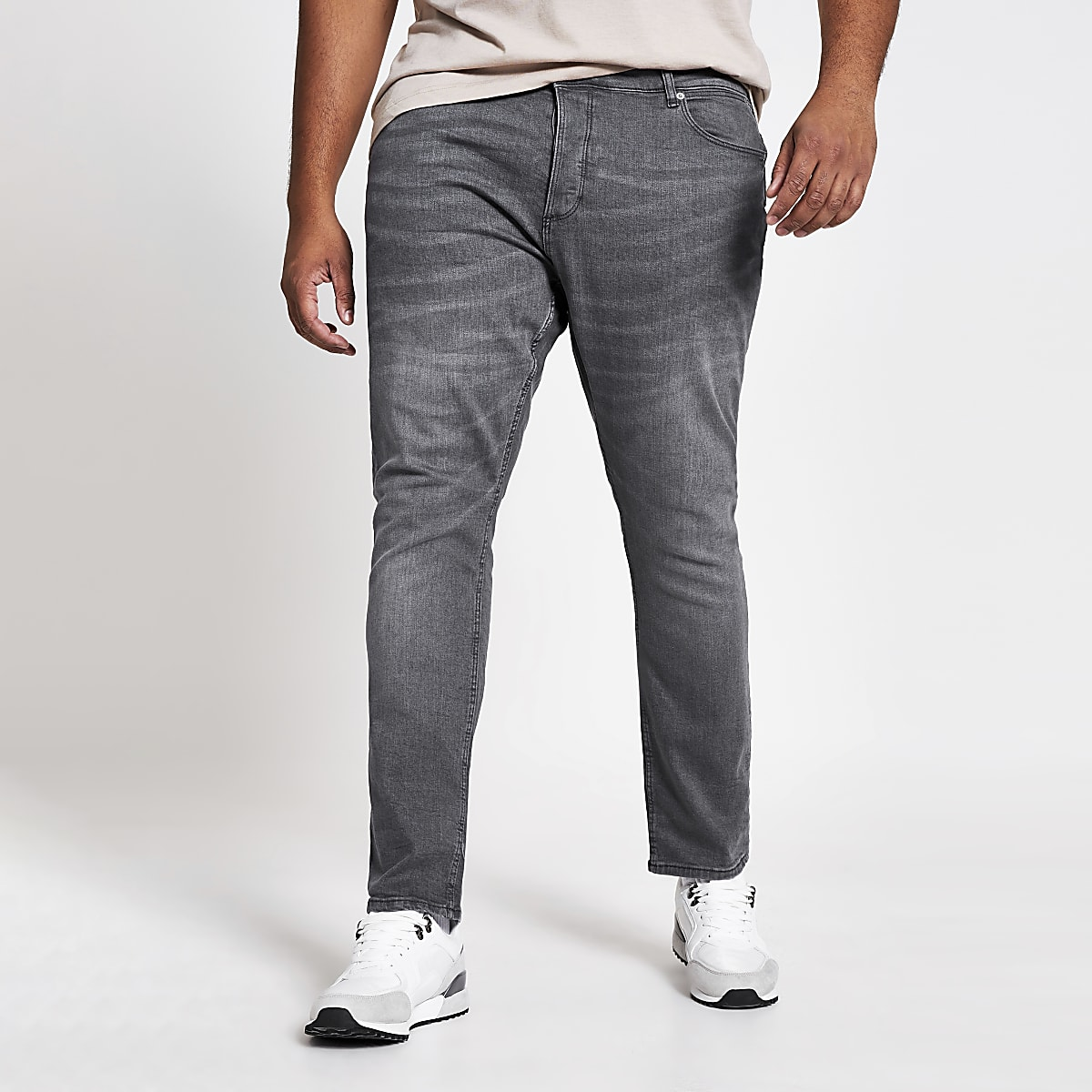 Big & Tall – Graue Skinny Fit Jeans