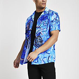 Blauw overhemd met drakenprint en korte mouwen