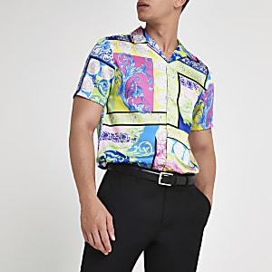 Green multi print revere short sleeve shirt