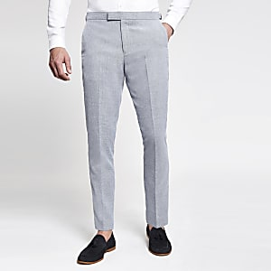 Light blue skinny suit pants
