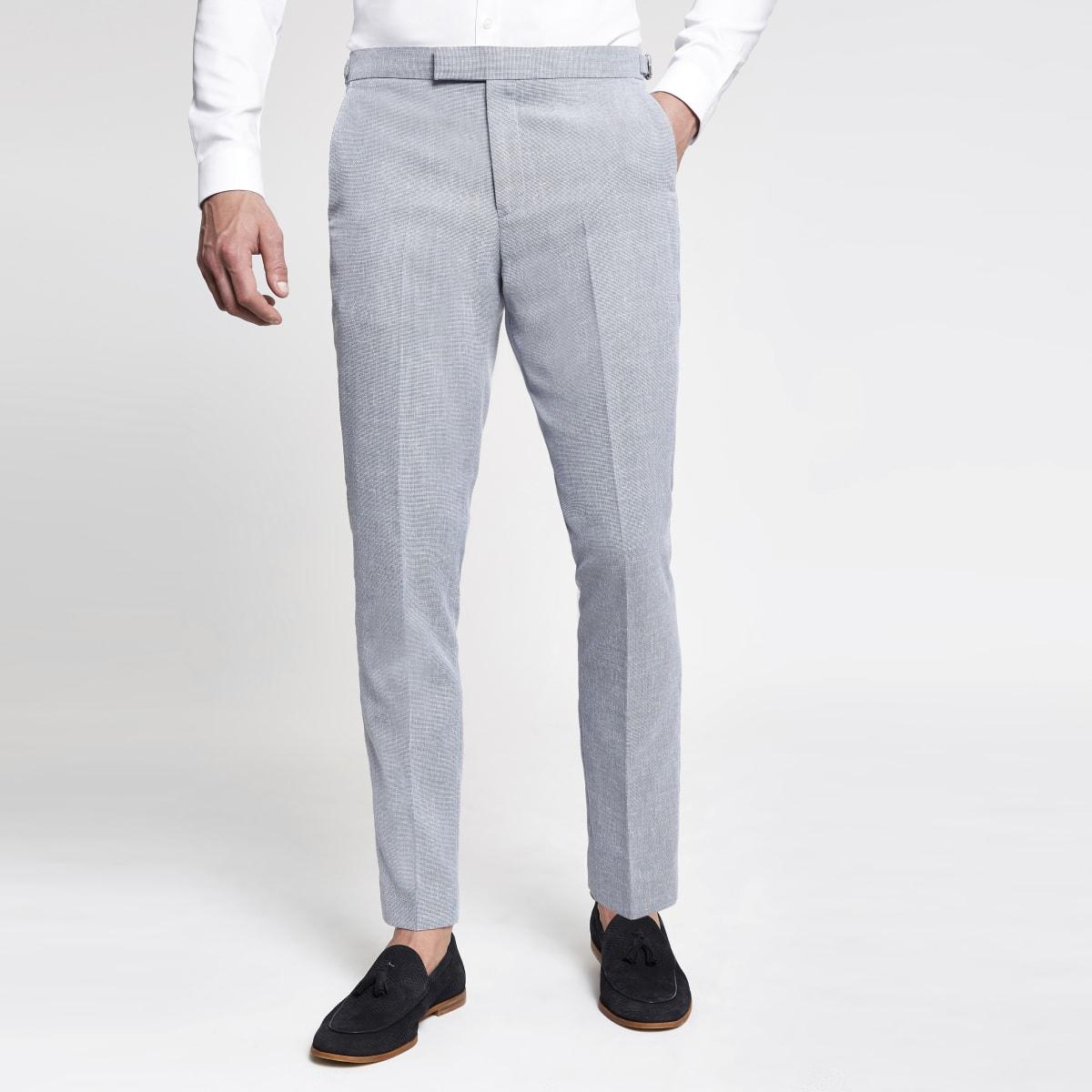 Light blue skinny suit trousers