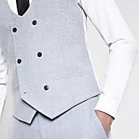 "Double Breasted Irish Linen Waistcoat in Powder Blue 48/"" Regular"