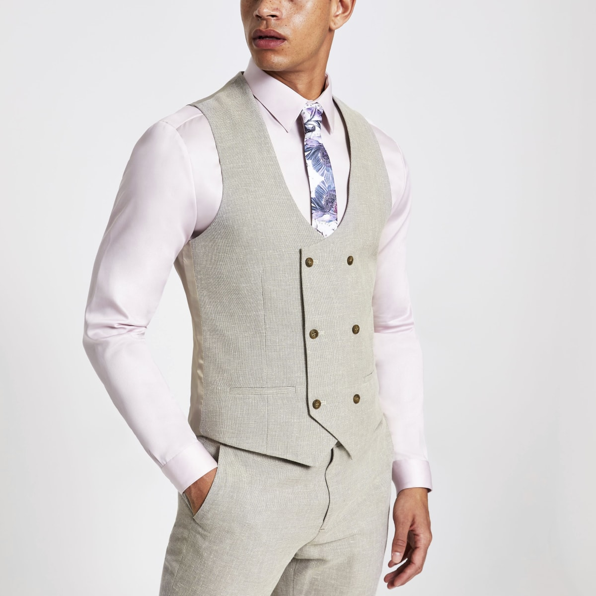 Ecru suit waistcoat