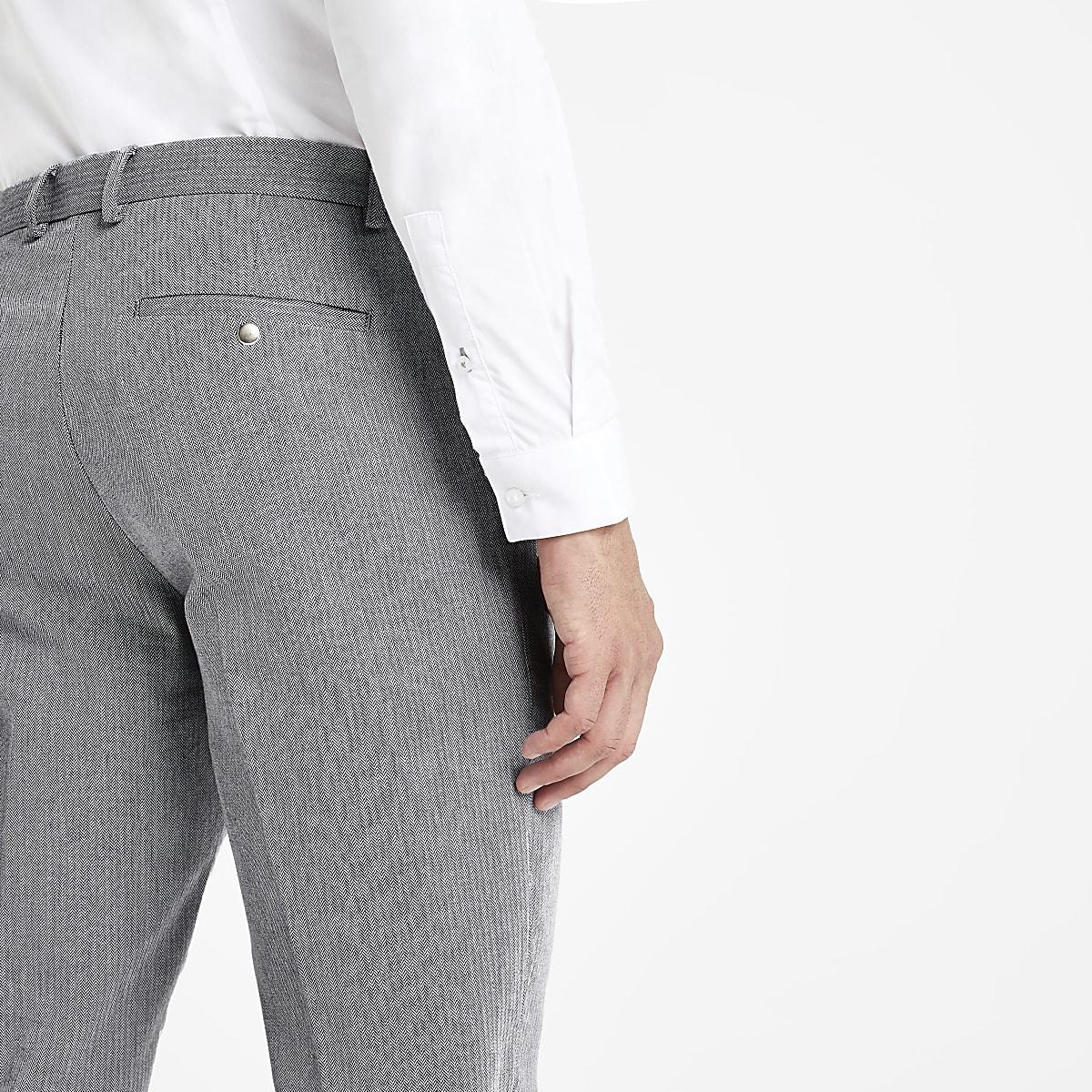 3e7935212d Grey Herringbone skinny smart trousers